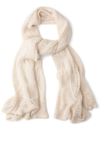Heartwarming Up Scarf in Cream - Cream, Solid, Fall, Winter, Good, Variation, Knit, Knitted