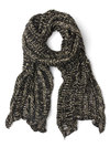 Wrap Legend Scarf - Black, Knitted, Fall, Winter, Better, Knit, Sheer, Tan / Cream