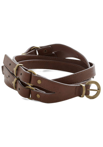 Dually Noted Belt - Brown, Gold, Solid, Buckles, Best, Faux Leather, Military