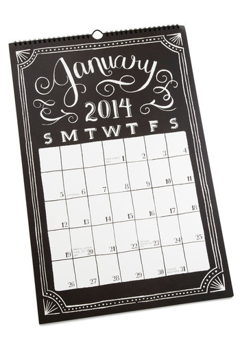 Sketch Me In 2014 Calendar - Black, White, Good, Work, Dorm Decor