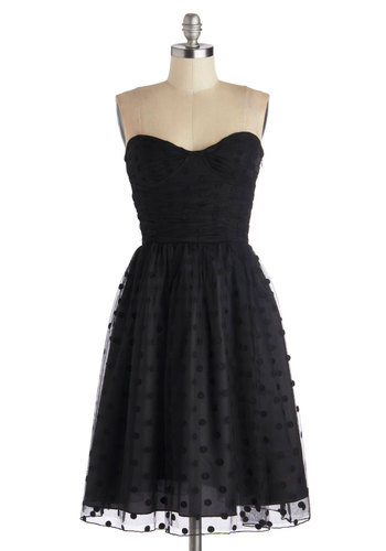 Subtly Striking Dress by Motel - Black, Solid, A-line, Strapless, Better, Sweetheart, Polka Dots, Long, Knit, Prom, Party, LBD