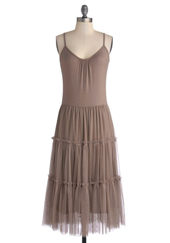 Proper At-tier Dress in Cocoa - Long, Knit, Tan, Solid, Tiered, Fairytale, Sheath / Shift, Spaghetti Straps