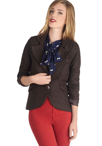 Modern Lit Lecturer Blazer - Brown, Solid, Long Sleeve, Work, Fall, 2, Short, Scholastic/Collegiate, Mod, Menswear Inspired, Brown