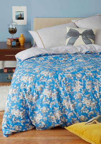 Cottage Z's Duvet Cover Set in Queen - Cotton, Blue, Multi, Dorm Decor, Best, Tan / Cream, Floral, Exclusives