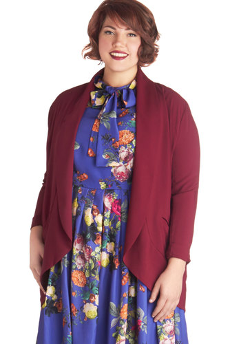 Regularly Radiant Blazer in Plus Size by BB Dakota - Woven, 1, Red, Solid, Minimal, Long Sleeve, Red