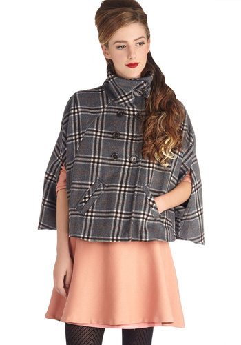 Charming on the Quad Cape - Grey, Plaid, Buttons, Pockets, Good, 1, Short, Grey, Top Rated