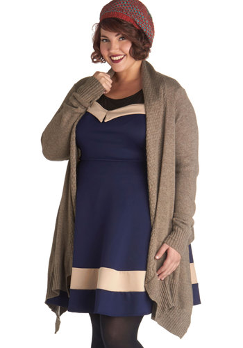 Photo Album Fete Cardigan in Plus Size - Knit, Tan, Solid, Casual, Long Sleeve, Basic
