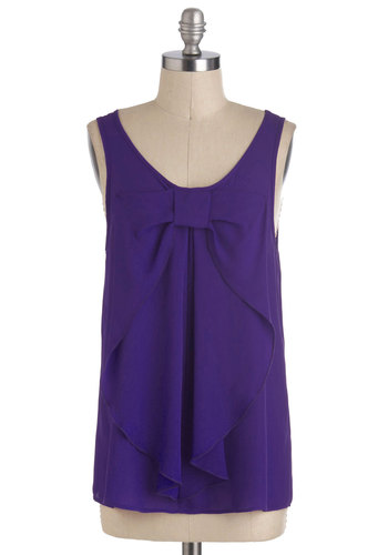 Hello, Bow! Top in Regency Purple - Purple, Solid, Bows, Sleeveless, Good, Mid-length, Chiffon, Sheer, Woven, Daytime Party, Variation, Scoop, Purple, Sleeveless