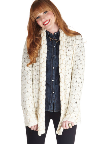 Fresh Baked Blondies Cardigan - Cream, Better, Long Sleeve, Mid-length, Sheer, Knit, Casual, Fall, White, Long Sleeve
