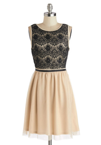 Oh So Flattered Dress - Tan / Cream, Black, Lace, Party, A-line, Good, Scoop, Woven, Sleeveless, Sheer, Mid-length, Full-Size Run