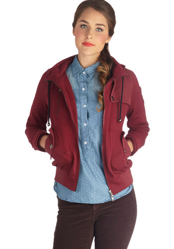 Leipzig Hoodie in Maroon - Basic, 1, Red, Solid, Pockets, Hoodie, Long Sleeve, Good, Variation, Exclusives, Jersey, Knit, Red, Short