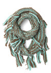 Indulge in Comfort Circle Scarf - Solid, Fringed, Knitted, Fall, Winter, Better, Knit, Brown, Mint, Casual