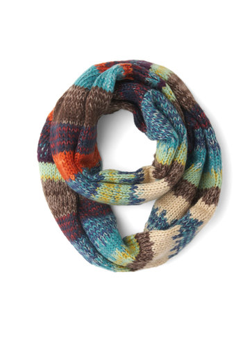 At the Harvest Festival Circle Scarf - Blue, Multi, Stripes, Knitted, Fall, Winter, Better, Knit, Casual