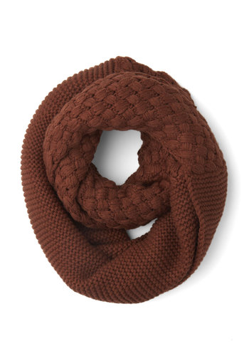 Outdoor Movie Circle Scarf in Deep Rust - Solid, Fall, Winter, Better, Brown, Knitted, Variation, Folk Art