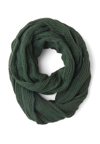 Seasonal Spin Circle Scarf - Green, Solid, Knitted, Casual, Better, Sheer, Knit, Minimal