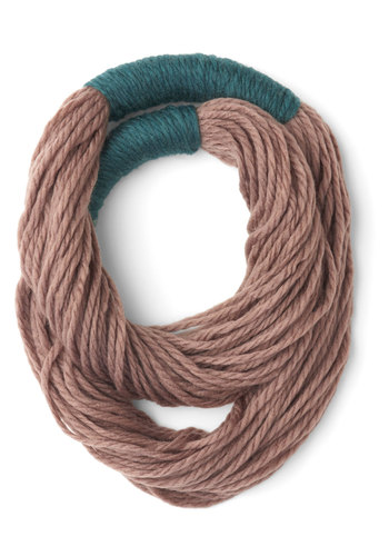 Strands to Reason Circle Scarf in Taupe - Blue, Solid, Fall, Winter, Good, Variation, Tan