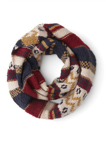 Mine and Eureka Circle Scarf - Multi, Print, Winter, Better, Knit, Woven, Red, Blue, Tan / Cream