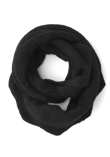 Commuter Cutie Circle Scarf in Black - Black, Solid, Scallops, Fall, Winter, Better, Variation, Knit, Knitted