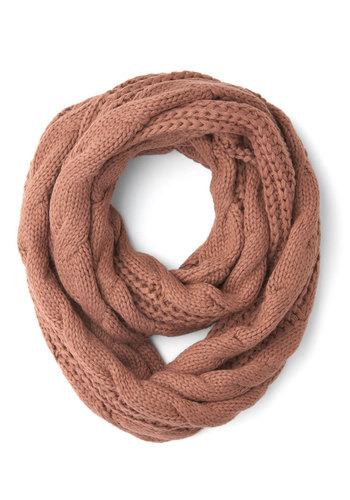 Coffee Shop Regular Circle Scarf - Solid, Knitted, Fall, Winter, Better, Knit, Tan, Casual
