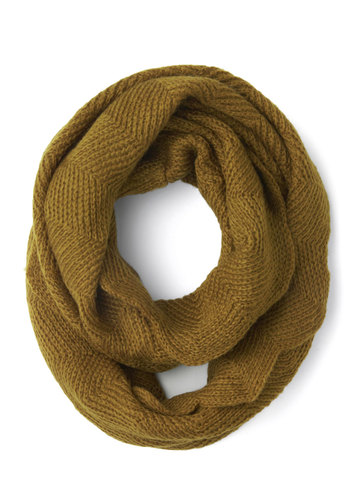 Commuter Cutie Circle Scarf in Olive - Green, Solid, Scallops, Fall, Winter, Better, Variation, Knit, Knitted