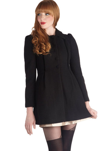 Ink Out Loud Coat by Jack by BB Dakota - Long, 3, Black, Solid, Buttons, Pleats, Pockets, Holiday Party, Black, Top Rated