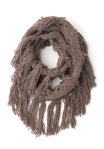 Toffee and Tea Circle Scarf - Grey, Solid, Fringed, Knitted, Fall, Winter, Better, Knit