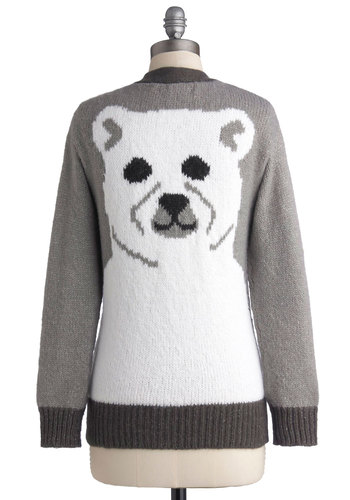 Polar Bear-y Cozy Cardigan - Grey, White, Print with Animals, Long Sleeve, Better, Mid-length, Knit, Buttons, Pockets, Winter, Grey, Long Sleeve, Holiday