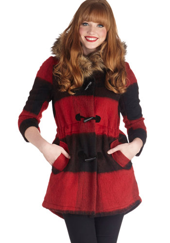 A Lodge to Love Coat by BB Dakota - 2, Stripes, Pockets, Hoodie, Long Sleeve, Fall, Long, Faux Fur, Multi, Multi