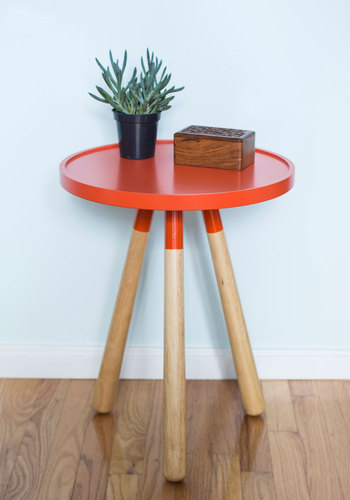 Less is Morning Accent Table by Present Time - Orange, Urban, Mod, Minimal, Tan / Cream, Solid, Mid-Century, Best