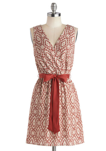 Personalized Invite Dress - Mid-length, Woven, Red, White, Print, Belted, Casual, A-line, Sleeveless, Good, V Neck, Work, Daytime Party