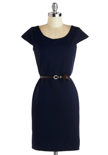Jot to Get Going Dress - Blue, Solid, Belted, Work, Minimal, Sheath / Shift, Cap Sleeves, Good, Scoop, Mid-length, Woven