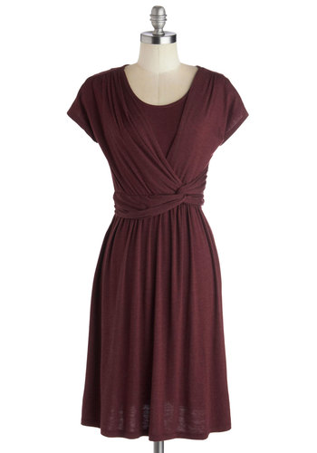Take It to Art Dress in Burgundy - Mid-length, Red, Solid, Ruching, Casual, A-line, Short Sleeves, Good, Scoop