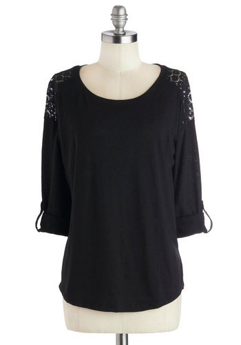 Prepping for the Party Top - Knit, Mid-length, Black, Lace, Good, Scoop, Solid, Casual, 3/4 Sleeve, Black, Tab Sleeve