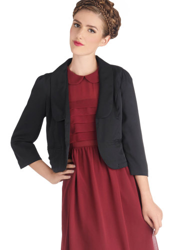 Front and Convention Center Blazer by Tulle Clothing - Short, Woven, 1, Black, Solid, Work, Cocktail, Long Sleeve, Good, Pockets, Cropped, Black
