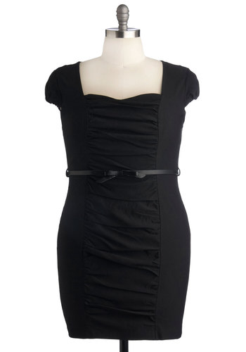 Style Gathering Dress in Plus Size - Black, Solid, Belted, Party, Sheath / Shift, Cap Sleeves, Sweetheart, Mini, Girls Night Out, Exclusives, Holiday Party