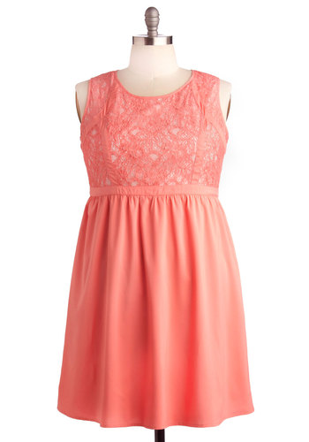 Hit the Bright Note Dress in Plus Size - Coral, Solid, Lace, Party, Empire, Sleeveless, Good, Scoop, Woven, Valentine's