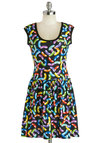 My Kinda Gallop Dress in Jelly Beans - Mid-length, Black, Multi, Novelty Print, Casual, A-line, Cap Sleeves, Good, Scoop, Variation
