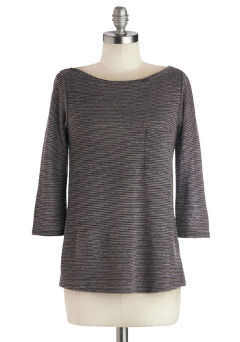 Game, Set, Math Top - Grey, Stripes, 3/4 Sleeve, Good, Mid-length, Knit, Minimal, Boat, Pockets, Casual, Grey, 3/4 Sleeve