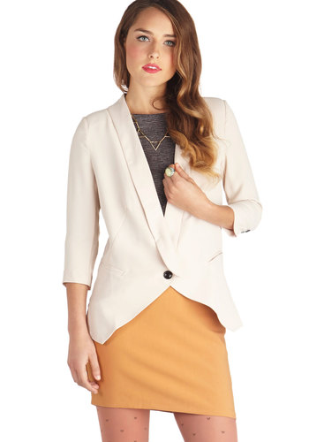 Business Trip as Usual Blazer - Cream, Solid, Work, 3/4 Sleeve, Mid-length, Woven, 1, Pockets, White