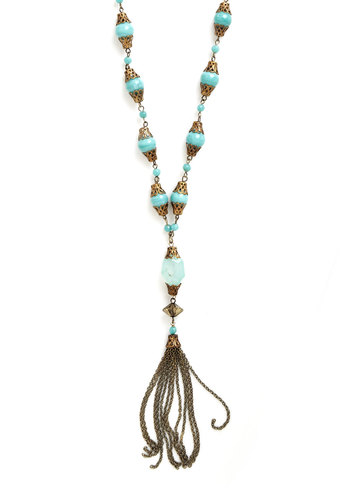 Secret Lair Necklace - Blue, Gold, Beads, Chain, Party, Work, Casual, Boho, 20s