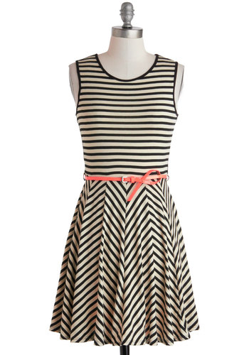 Pop of Patent Dress - Short, Tan / Cream, Black, Stripes, Cutout, Belted, Casual, A-line, Tank top (2 thick straps), Scoop, Sheer, Chevron, Summer
