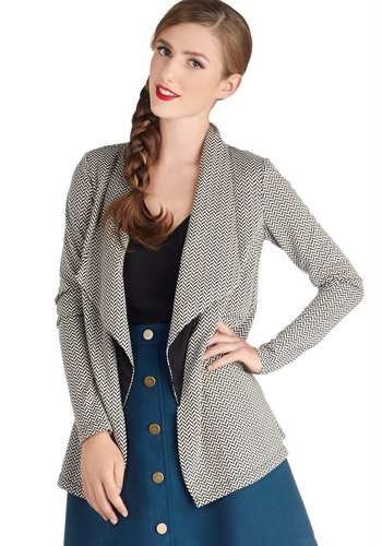 Home for the Weekend Jacket - Mid-length, 1, Knit, Multi, Chevron, Work, Long Sleeve, Good, Casual, Multi
