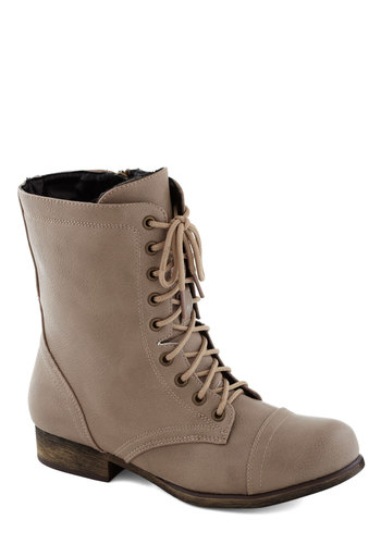 Cement Our Friendship Boot - Faux Leather, Faux Fur, Grey, Steampunk, Low, Good, Lace Up, Casual, Military