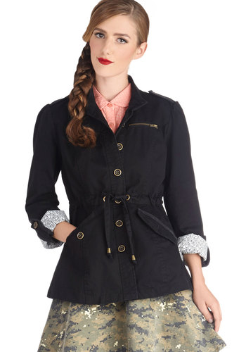 On the Flyer Jacket by Tulle Clothing - Mid-length, Cotton, Woven, 2, Black, Solid, Buttons, Exposed zipper, Pockets, Belted, Casual, Long Sleeve, Fall, Military, Black, Top Rated
