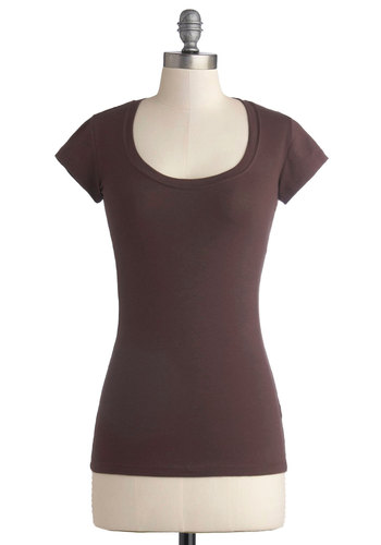 Learn the Basics Top in Brown - Mid-length, Jersey, Cotton, Knit, Brown, Solid, Casual, Minimal, Short Sleeves, Variation, Basic, Scoop, Brown, Short Sleeve