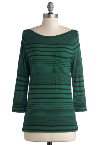 Afternoon on the Lawn Top - Mid-length, Jersey, Knit, Green, Stripes, Pockets, Casual, Good, Boat, Black, Green, 3/4 Sleeve, 3/4 Sleeve