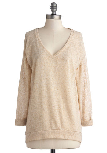Morning Porridge Top - Mid-length, Sheer, Knit, Tan, Solid, Casual, Long Sleeve, Good, V Neck, Minimal