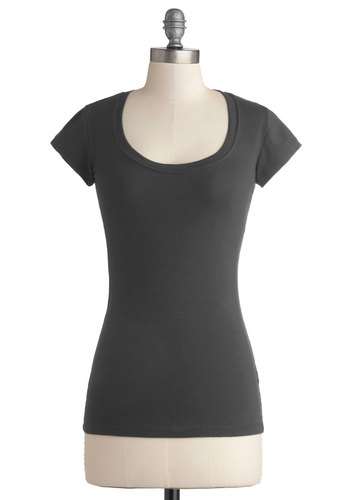 Learn the Basics Top in Charcoal - Mid-length, Jersey, Cotton, Knit, Grey, Solid, Casual, Minimal, Short Sleeves, Variation, Basic, Scoop, Grey, Short Sleeve