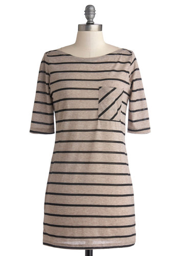 Take Some Downtime Top - Long, Jersey, Knit, Tan, Black, Stripes, Casual, 3/4 Sleeve, Good, Pockets, Boat, Brown, Short Sleeve