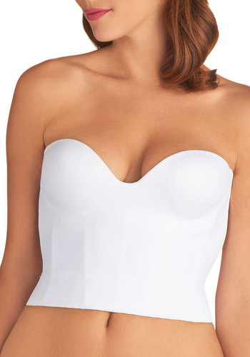 Gown Time Corset in Cropped Length - Knit, White, Solid, Wedding, Bride, Boudoir, Cropped, Strapless